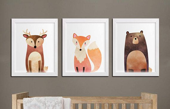 Nursery woodland printable set of 3 wall art baby room decor