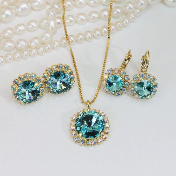 Aqua Blue Swarovski Pendant Necklace Aqua Bridesmaids Gift Set