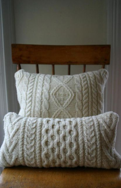 like the pillow I made from the cableknit cardigan