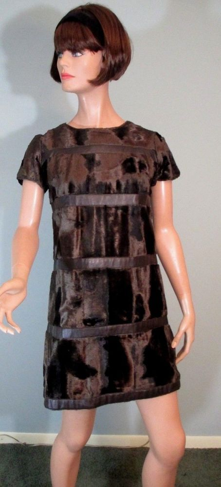 Vintage 1960s Mini Dress Faux Fur Vinyl Mod Go Go Alamor New York Size Small #Alamor #Mini #Clubwear