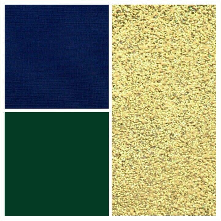 Navy blue, forest green, & sparkle gold accent. Wedding palette #1