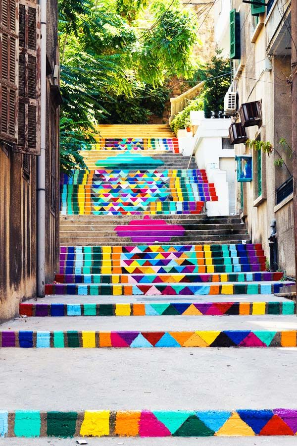 Must go see this, when I visit Beirut soon!!  Painted Stairs in Beirut, Lebanon | #Information #Informative #Photography