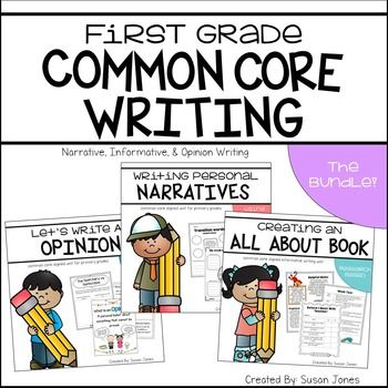 Common core writer's workshop bundle that helps students through the writing process. This unit covers narrative writing, opinion writing and informative writing for all first grade writing standards!NOTE: This is a discounted, BUNDLED pack of my three common core writing units!