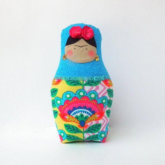 Frida Kahlo doll Babushka doll Matryoshka by CherryGardenDolls
