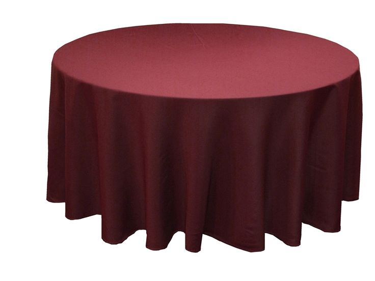Who doesn't love this gorgeous Polyester 108 inch Round Burgundy Tablecloth? We think it would look fabulous with an orange or green accent color!