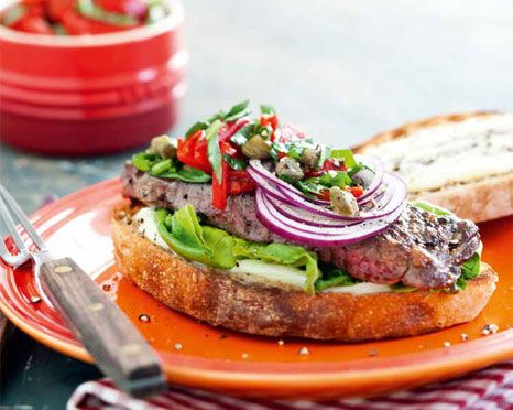Steak Sandwich with Roasted Pepper Salsa, Onions and Grilled Bread