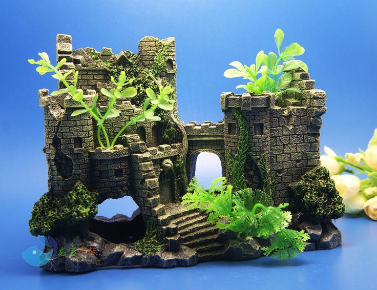 87 best aquariums decor castles medievil images on pinterest for Fish tank castle