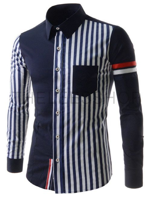 (CEL54-NAVY) Mens Casual Slim Fit Stripe 1 Chest Pocket Stretchy Long Sleeve Shirts