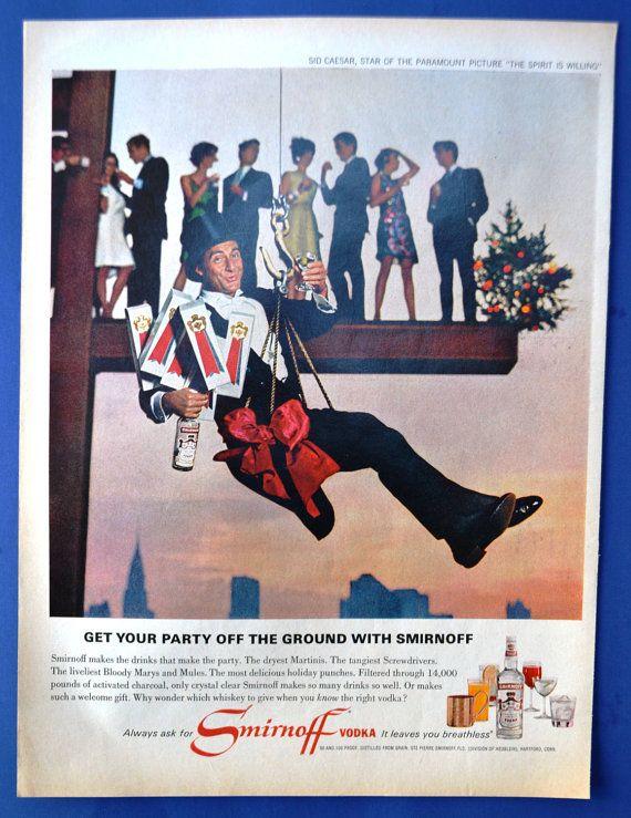 1966 Smirnoff Vodka Vintage Print Ad - Sid Caesar