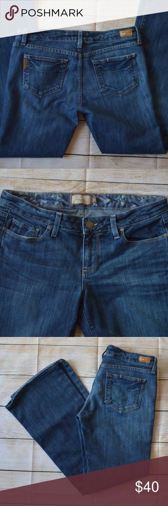 """Paige Premium Denim Hollywood Hills Petite Bootcut Paige Premium Denim classic bootcut size 29. Altered hem. Great condition. Measurements (taken with item laid flat across side to side) Waistband 15"""" Hips 19"""" Rise 8"""" Inseam 29 1/2"""" Leg opening 9 1/2""""  From a smoke-free home PAIGE Jeans Boot Cut"""