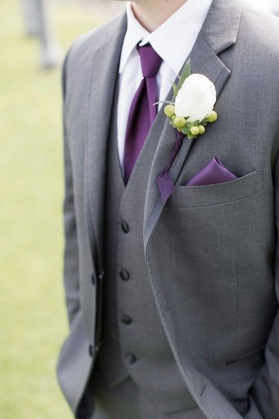 dark grey colour suit /  http://www.himisspuff.com/purple-wedding-ideas/15/