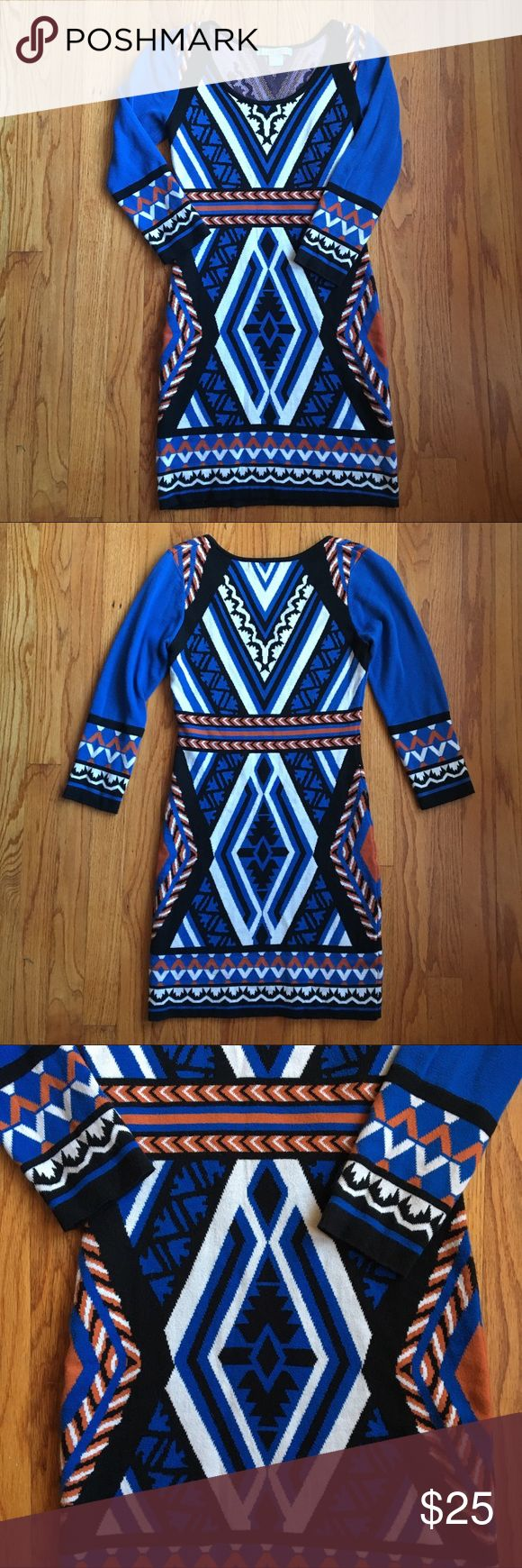 "NWOT Flying Tomato Blue Aztec Print Dress Extremely flattering form fitting dress. Bodycon style with multicolored Aztec print. No flaws. 33"" length. Flying Tomato Dresses"