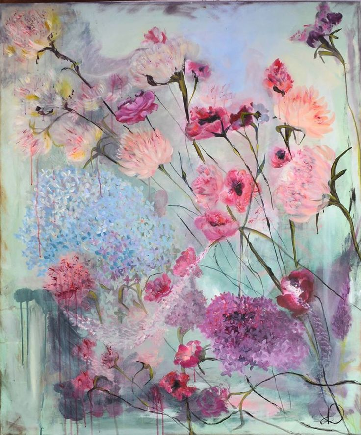 """Those Flowers"" 120X100 cm. Acrylic on canvas. Made by Naja Duarte"