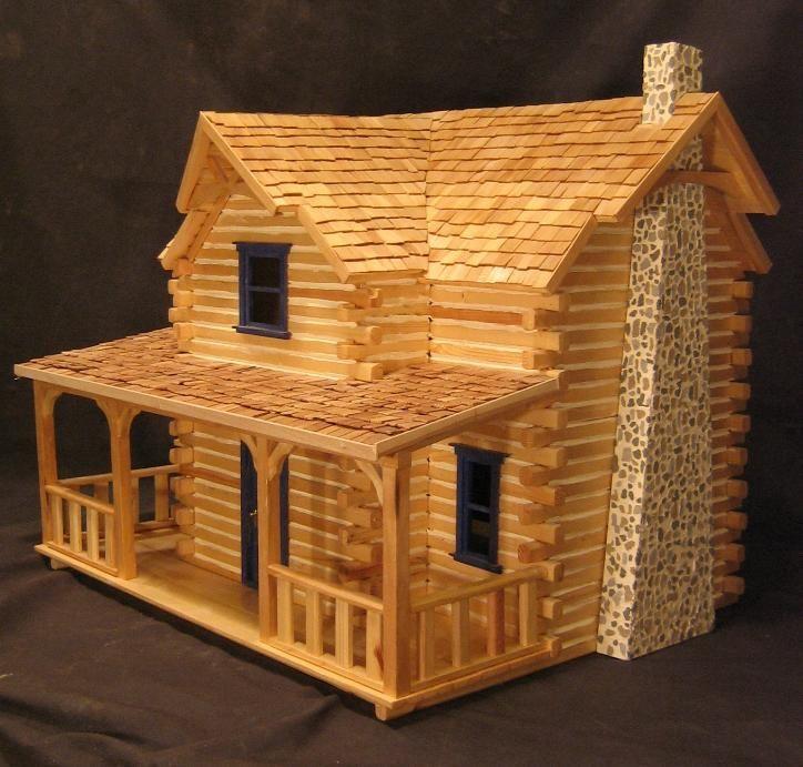 Log cabin dollhouse pop sticks pinterest brides for Stick built home kits