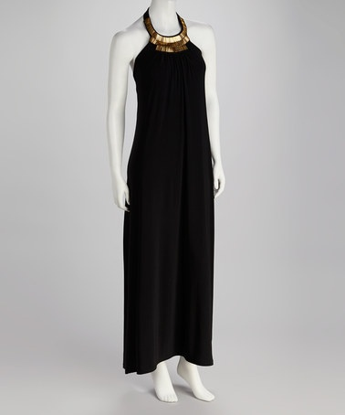 Take a look at this Black & Gold Embellished Halter Maxi Dress by Nina Leonard on #zulily today!