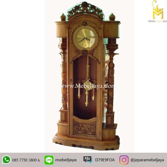 Lemari Jam Hias Mewah Ukir Kayu Jati Natural Jepara - almari jam bandul dengan warna alami di desain secara mewah dan diproduksi dengan kualitas terbaik.