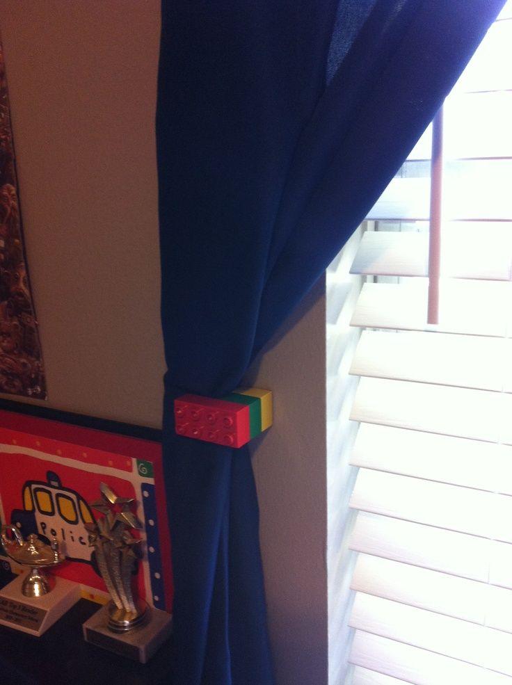 boys lego curtains | Lego curtain tie back DIY curtain ties.