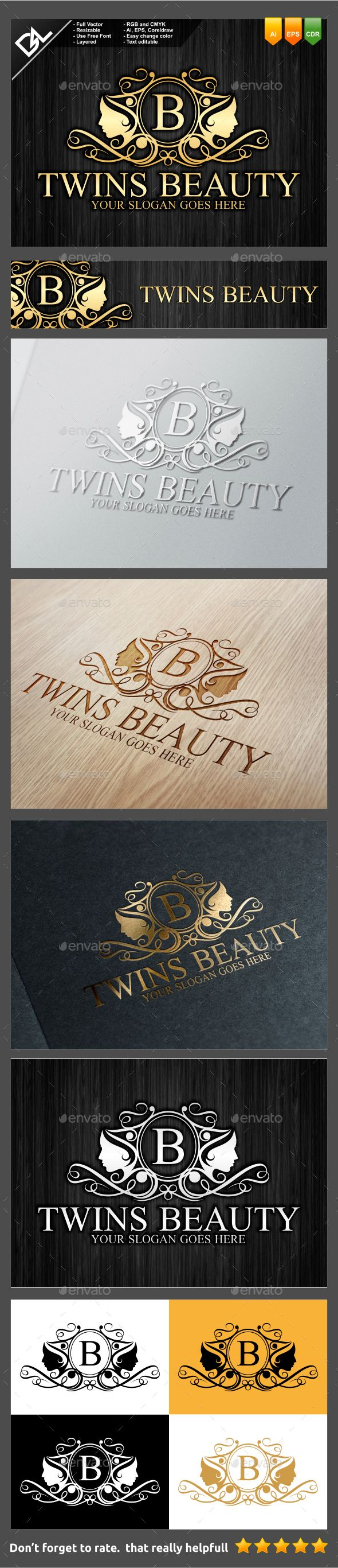 Twins Beauty  Logo  EPS Template • Only available here! ➝ https://graphicriver.net/item/twins-beauty/9443566?ref=pxcr