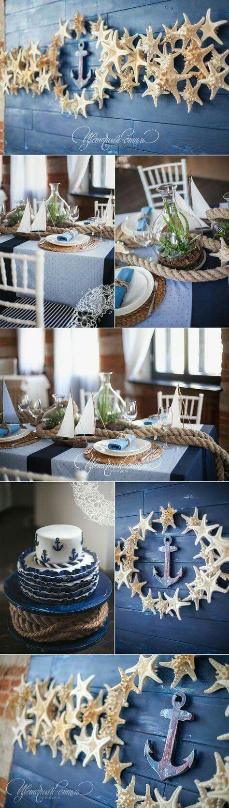 Gorgeous nautical beach wedding decoration ideas | I love these star fish and seashell inspired beach wedding decor. Perfect for a seaside or coastal wedding. SAVE to your wedding planning board>>