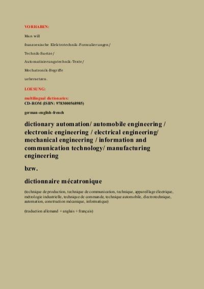dictionary automation/ automobile engineering / electronic engineering / electrical engineering/ mechanical engineering / information