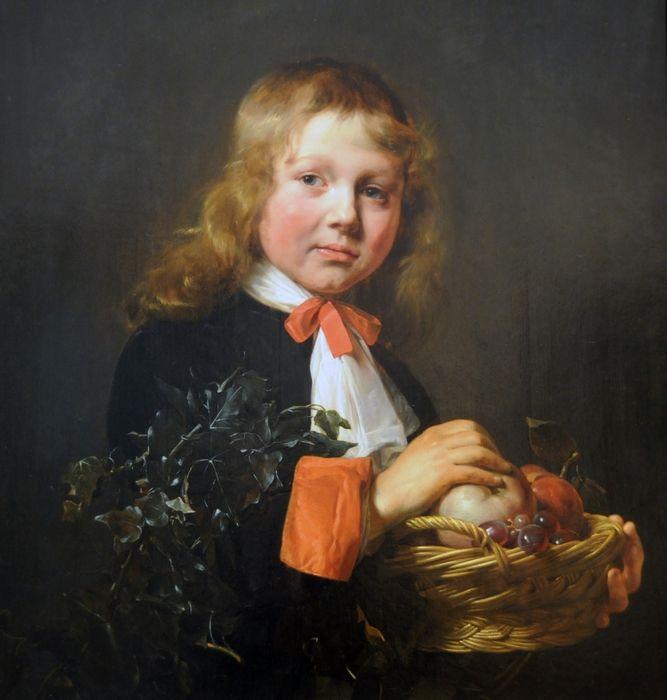 Брэй Ян Саломон де (ок.1627-1697). Портрет мальчика с корзиной фруктов (1658)