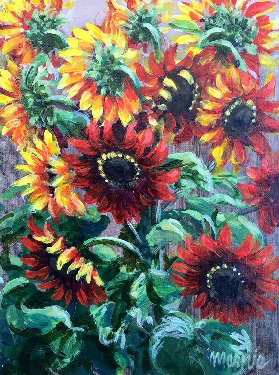 Girasoli rossi originale acrilico pittura/allegra cucina arte
