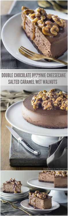 Double Chocolate Brownie Cheesecake with Salted Caramel Wet Walnuts- worth…
