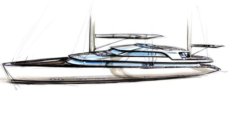 Superyacht Sketches   Tony Castro Yacht Design