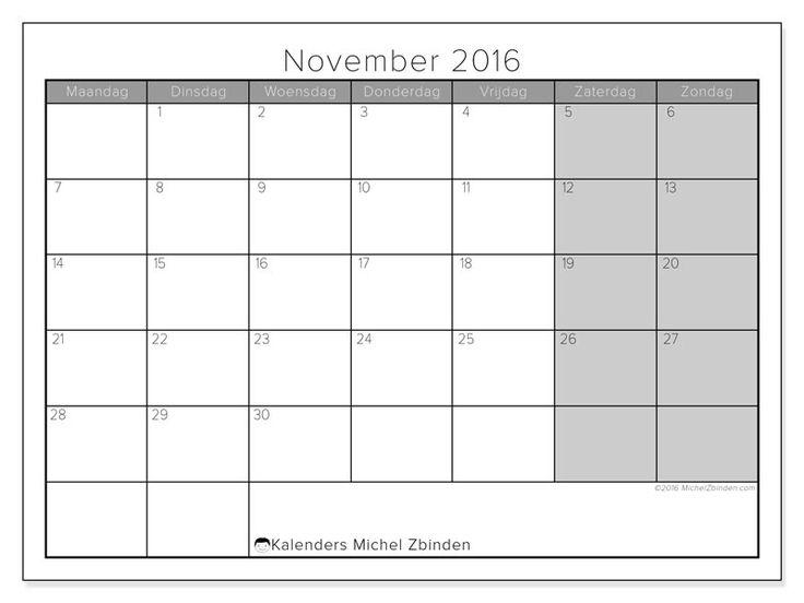 Gratis! Kalender voor november 2016 af te drukken