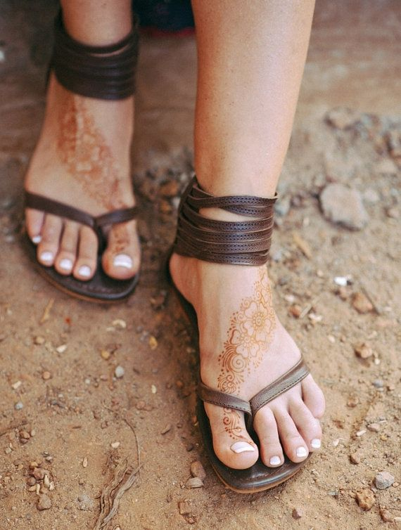 Molle. Brown leather thong sandals / womens leather by BaliELF, $110.00