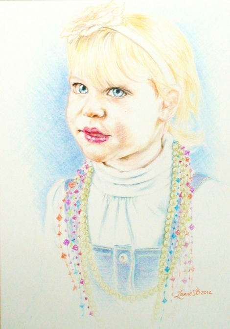 I love how this commissioned portrait came out which has an ethereal look especially with those beautiful lagoony blue eyes( as her mother described them :)