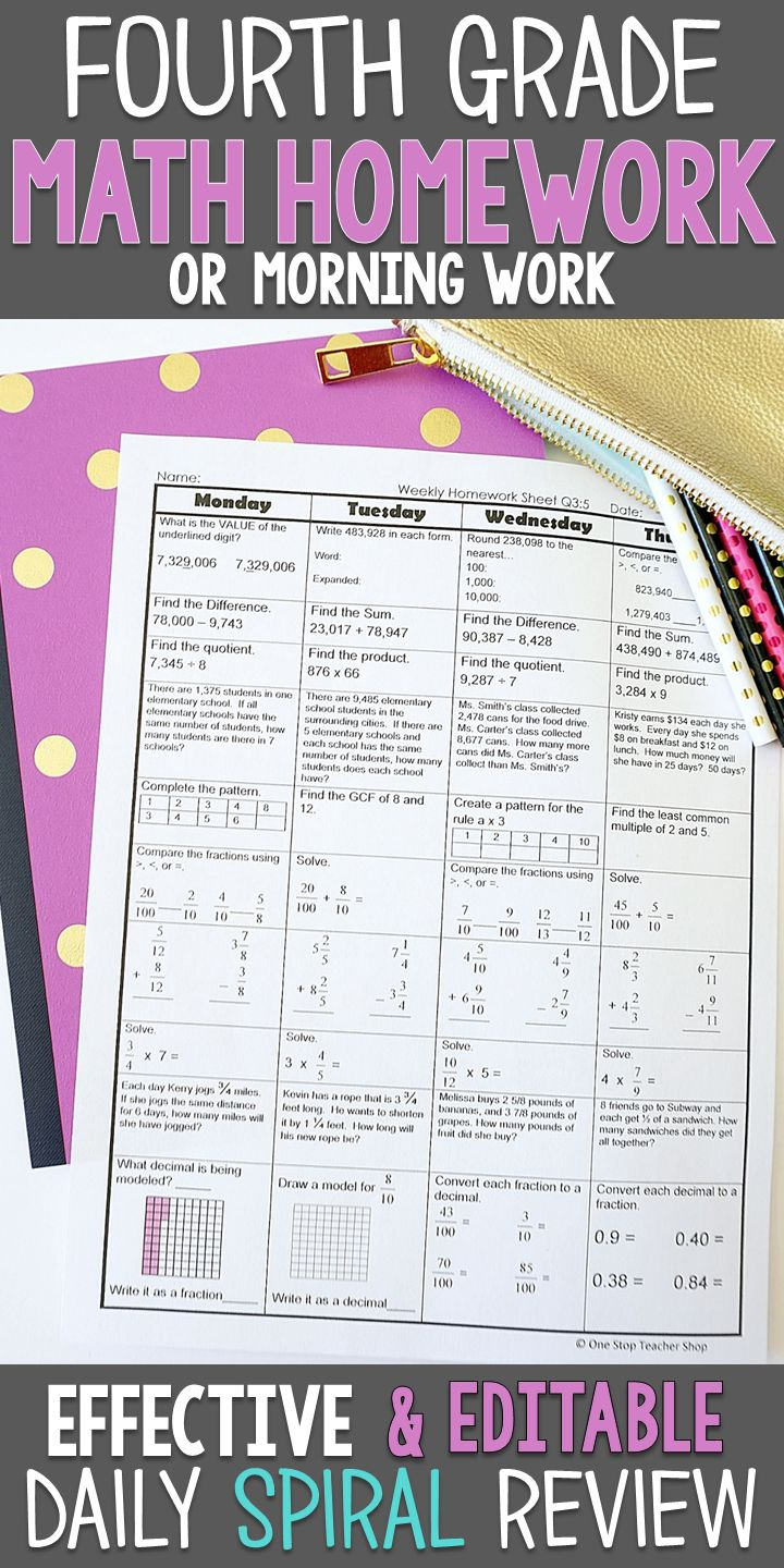 Fourth Grade math homework or morning work that provides a daily review of ALL 4th grade math standards. This 4th Grade spiral math review resource is fully EDITABLE and comes with answer keys and a pacing guide.