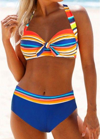 Knot Detail Halter Neck Multicolor Striped Bikini …