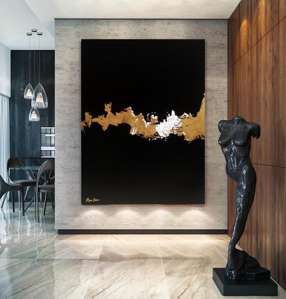 55 Painting Brilliance Lightning Large Black Etsy In 2020 Gold Abstract Painting Gold Art Painting Abstract Painting