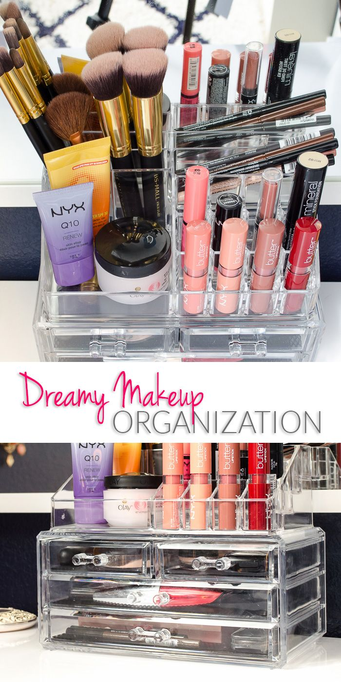 I'm totally smitten with this acrylic makeup organizer!