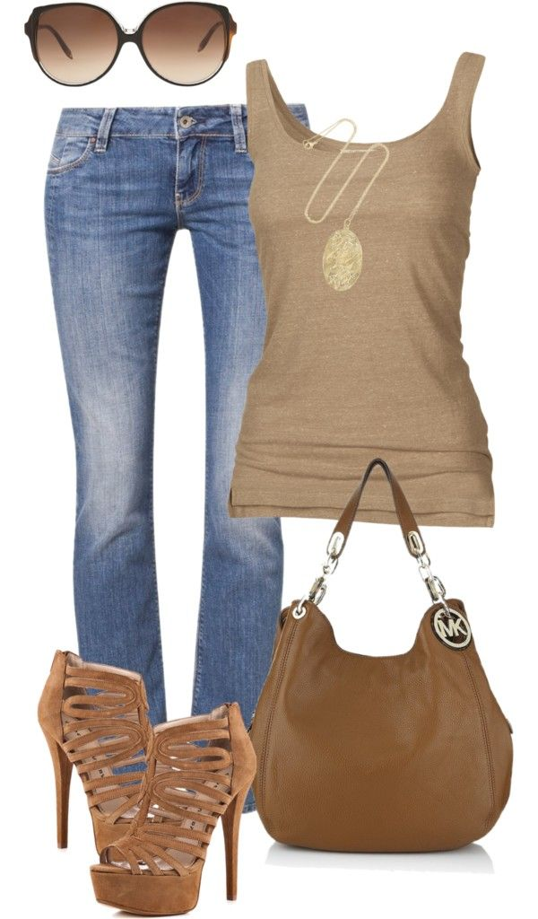 """""""Jeans and tank"""" by missyalexandra on Polyvore"""