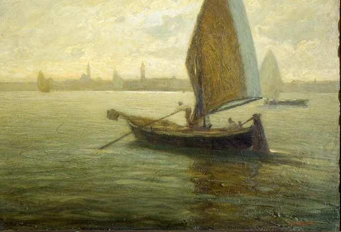Fragiacomo Pietro, Barche da pesca sulla Laguna, Galleria d'Arte Moderna Ricci Oddi, Piacenza