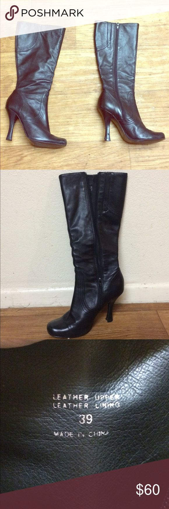 ALDO Boots - Calf Length - Leather Black leather ALDO boots. Chic and badass at the same time! Size 39 ( ~ size 8.5 according to ALDO, ~ size 9 according to Poshmark). Aldo Shoes Heeled Boots