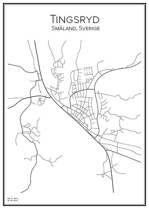 Tingsryd. Småland. Sverige. Karta. City print. Print. Affisch. Tavla. Tryck.