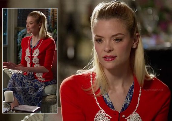 Lemon's red and white sequinned cardigan and blue patterned dress on Hart of Dixie.  Outfit details: http://wornontv.net/15223/