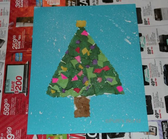 Christmas Tree Crafts Kindergarten : Best images about torn paper art on craft