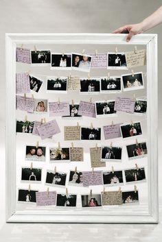 DIY Hochzeit Gästebuch Bilderrahmen mit Polaroid Fotos
