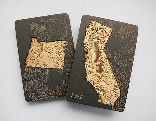 Packaging Geography. Laser Carved Topographic State Magnets Are Beautifully Presented In Unique Package Design.