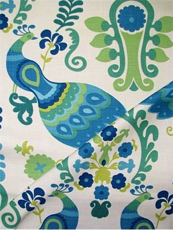 """Bellando Calypso - Richloom Fabric - 100% cotton heavy slubby basket fabric with transitional floral & peacock print. Prefect for upholstery fabric, drapery fabric or bedding fabric. 36"""" repeat. 54"""" wide."""