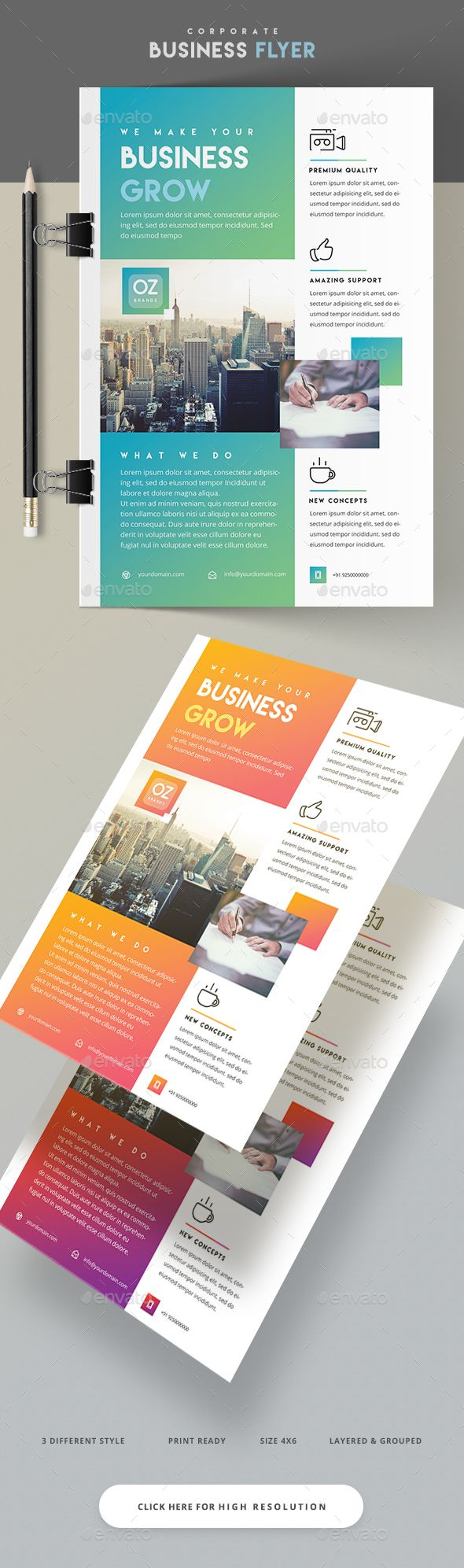 Business Flyer  — PSD Template #graphicriver flyer #business flyer • Download ➝ https://graphicriver.net/item/business-flyer/18262575?ref=pxcr