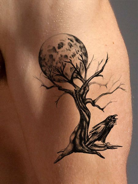 This highly detailed black and white temporary tree tattoo look super cool as an arm tattoo, shoulder or chest tattoo or placed anywhere you like! The barren tree indicates an ominous feeling, while t