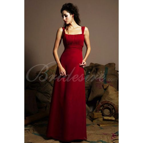 2012 Style Spaghetti Sleeveless Floor-length Chiffon Bridesmaid / Wedding Party Dress