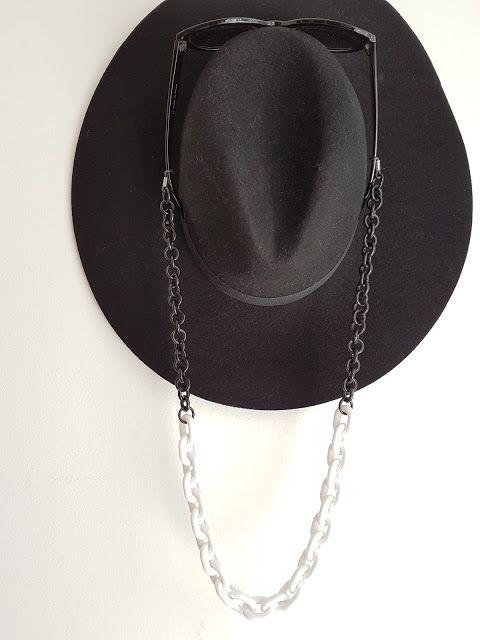 White and black eyeglasses chain