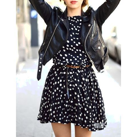 A simple polka dot dress and edgy leather jacket. | We Heart It