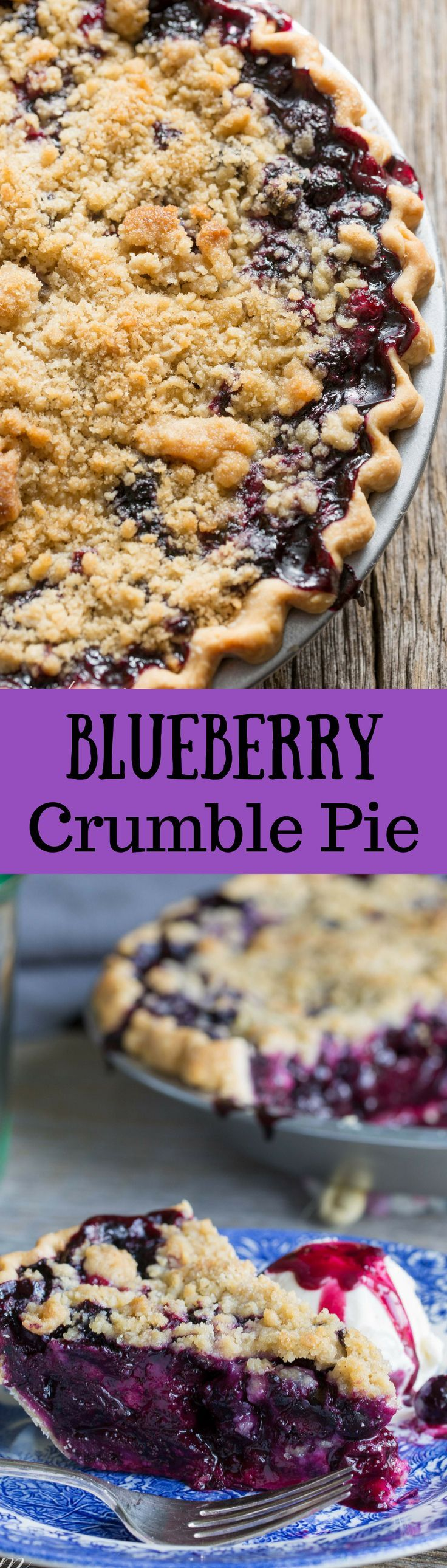 Blueberry Crumble Pie -Sweet blueberries topped with a crispy crumble all baked up in a wonderful summer pie. A must make for your ripe blueberries!  www.savingdessert.com